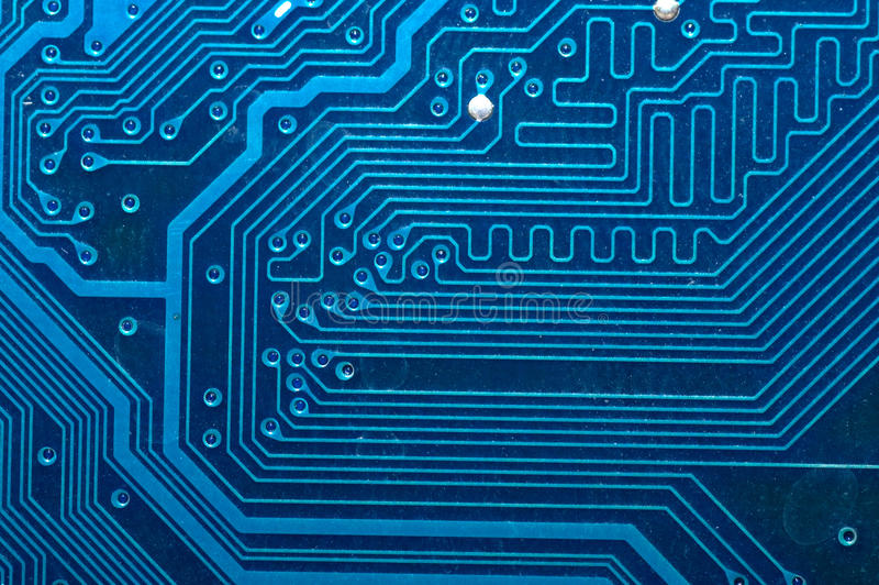 Download Close Up Of Computer Circuit Board In Blue Royalty Free Stock Photography - Image: 14043077