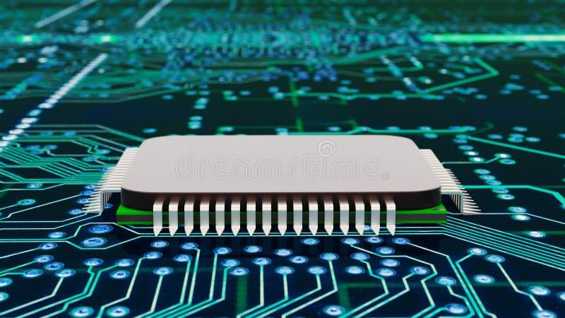 A close up of a computer processor stock illustration