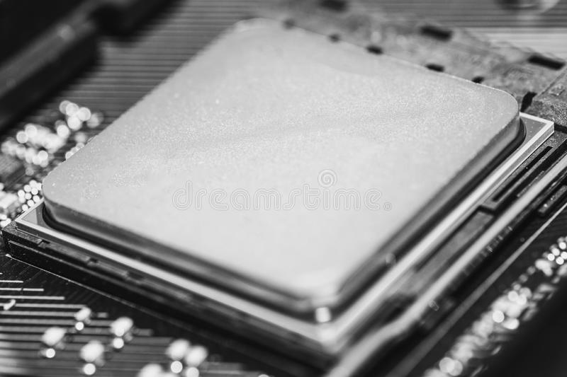 Close-up of computer processor parts, modern technology stock images