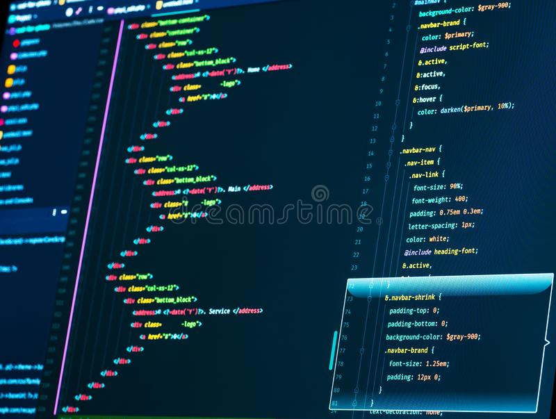 Close up of a computer screen with HTML and CSS code. Close-up of a computer screen with HTML and CSS code royalty free stock photos