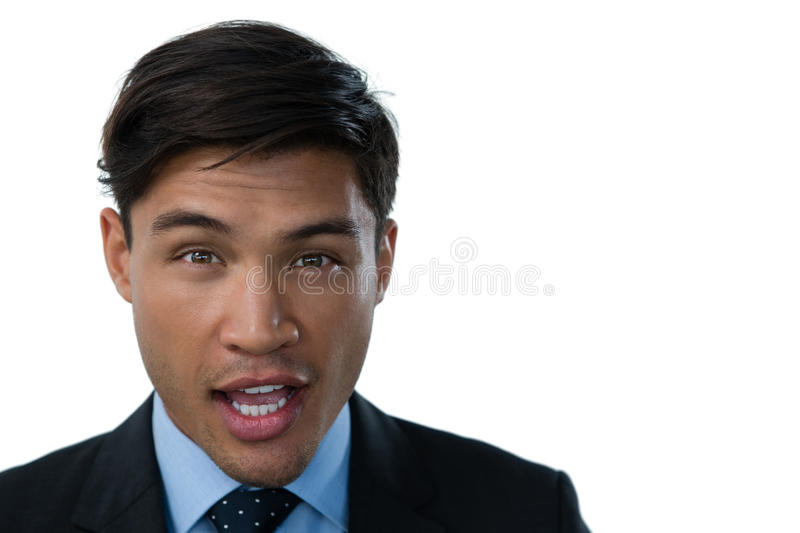Close up of confidence businessman with mouth open stock images