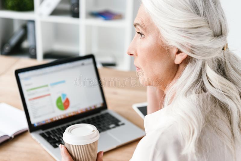 Close up of confident mature business woman royalty free stock image