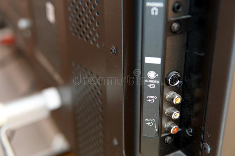 Close up of rear end of music amplifier royalty free stock photo