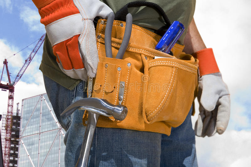 Close up of construction worker?s tool belt stock images