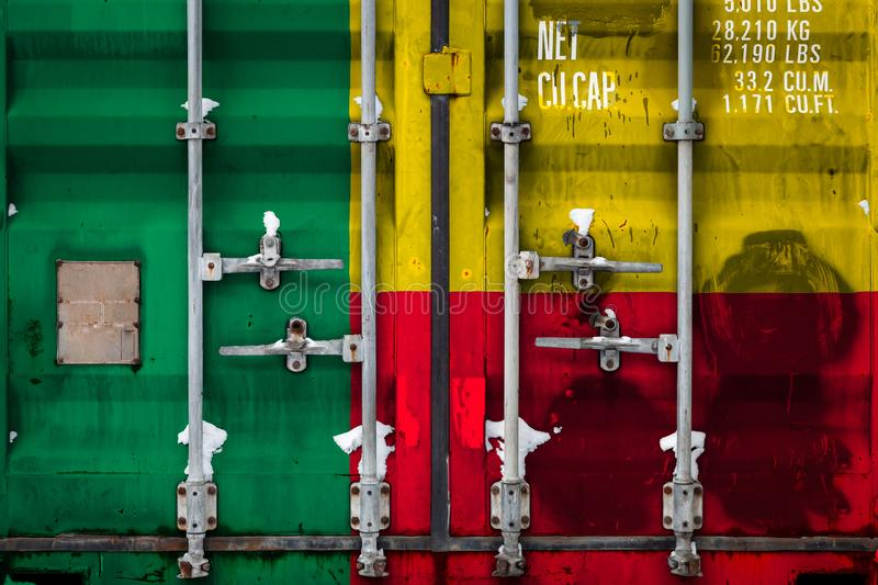The concept of export-import and national delivery of goods. Close-up of container with national flag of benin. Concept of Benin export-import and national vector illustration