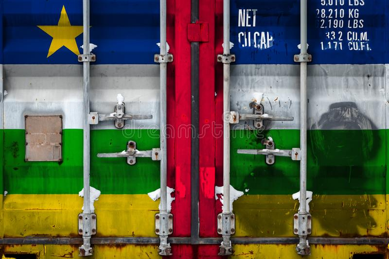 The concept of export-import and national delivery of goods. Close-up of the container with the national flag of Central African Republic. The concept of export royalty free illustration