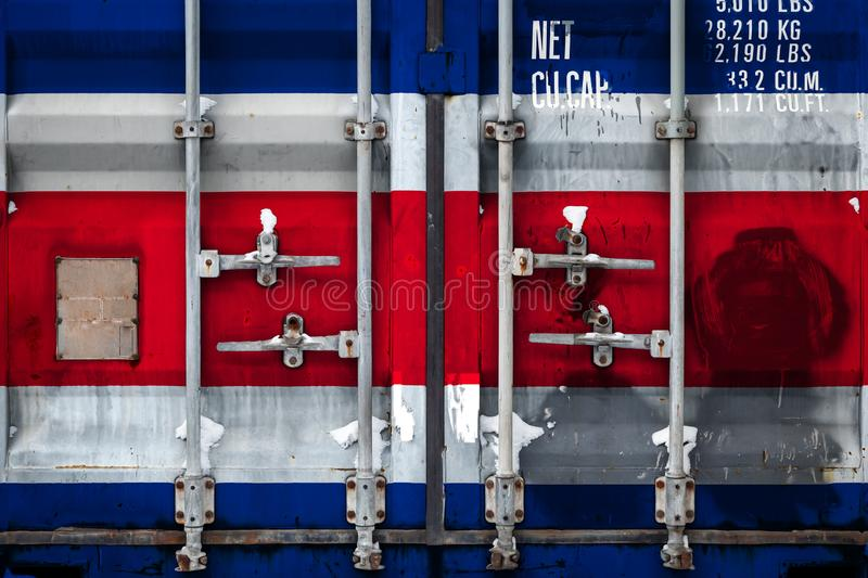 The concept of export-import and national delivery of goods. Close-up of a container with the national flag of Costa Rica. The concept of export-import Costa royalty free illustration