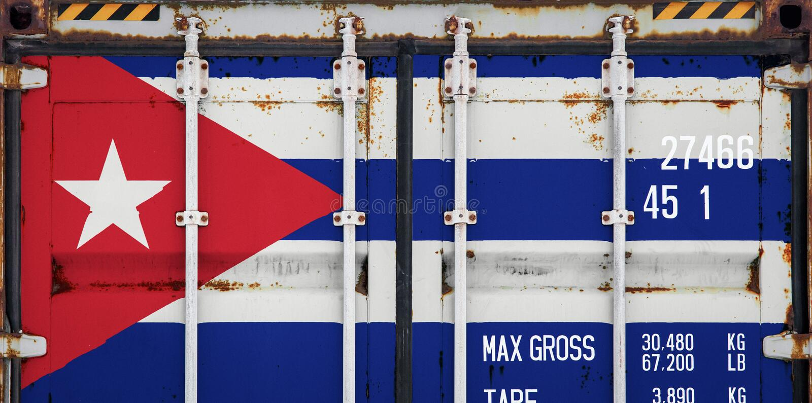 Close-up of the container with the national flag. Of Cuba. The concept of Cuba export-import and national delivery of goods stock photo
