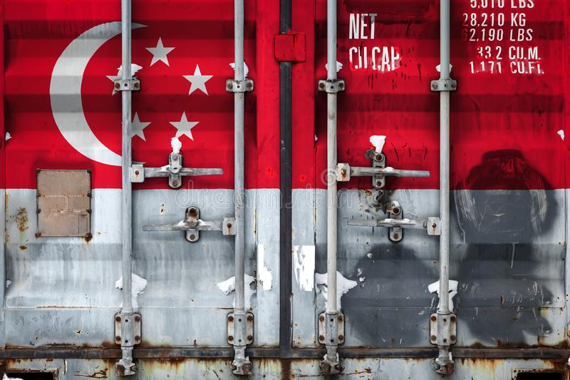 The concept of export-import and national delivery of goods. Close-up of a container with the national flag of Singapore. The concept of export-import Singapore vector illustration