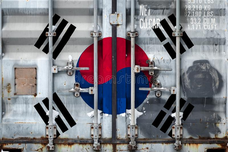 The concept of export-import and national delivery of goods. Close-up of a container with the national flag of South Korea. The concept of export-import South vector illustration