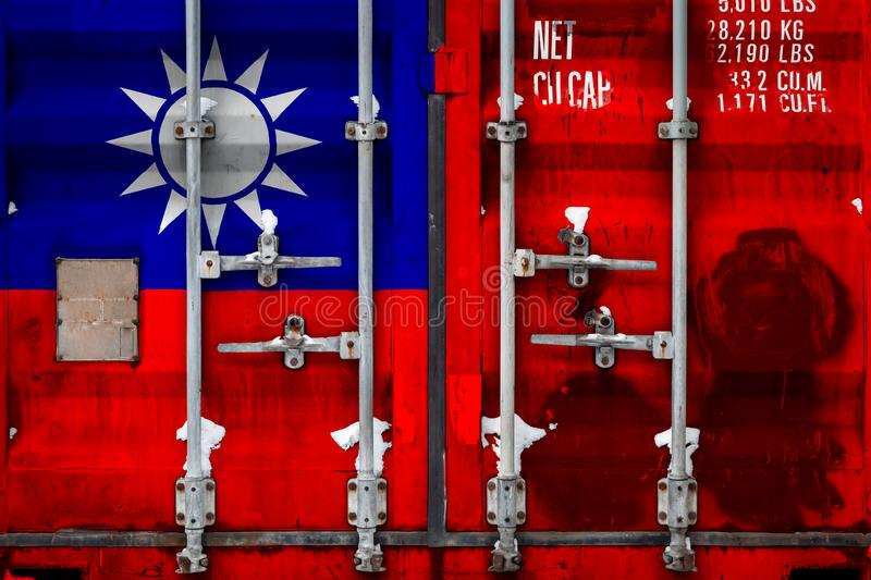 The concept of export-import and national delivery of goods. Close-up of a container with the national flag of Taiwan. The concept of export-import Taiwan and stock illustration