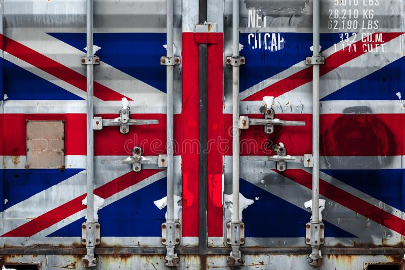 The concept of export-import and national delivery of goods. Close-up of a container with the national flag United Kingdom. The concept of export-import United royalty free illustration