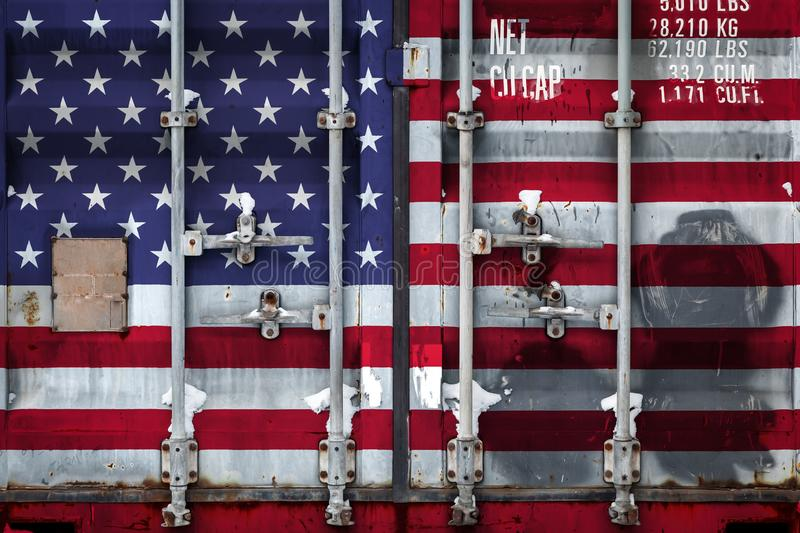 The concept of export-import and national delivery of goods. Close-up of a container with the national flag of USA. The concept of export-import USA and the stock illustration