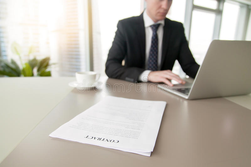 Close up of a contract on the office desk stock photography