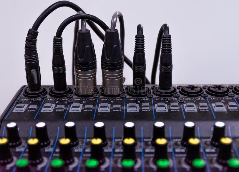 Close up control panel mixer audio.  royalty free stock photo