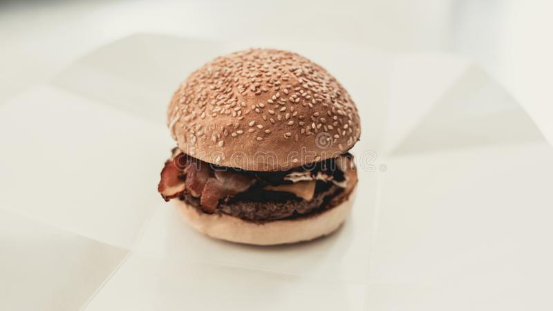 Close up. Cooking Burger in Food Truck. stock photography