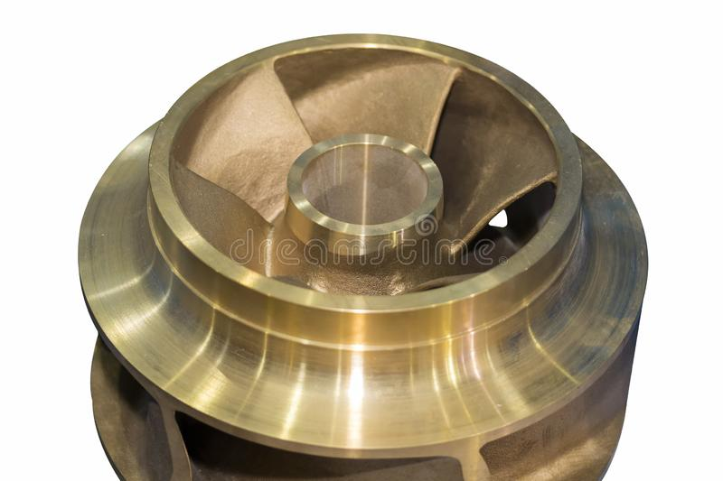 Close up copper closed impeller of centrifugal pump for industrial. Close up copper or cast iron closed impeller of centrifugal pump for industrial stock images