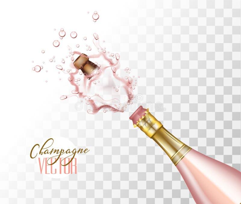 Close up cor-de-rosa realístico da explosão do champanhe do vetor ilustração stock