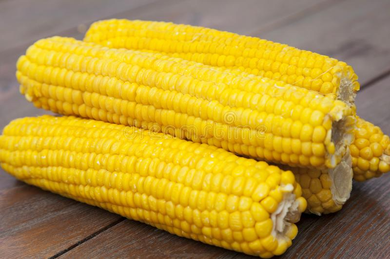 Close-up corn on wooden table stock photography
