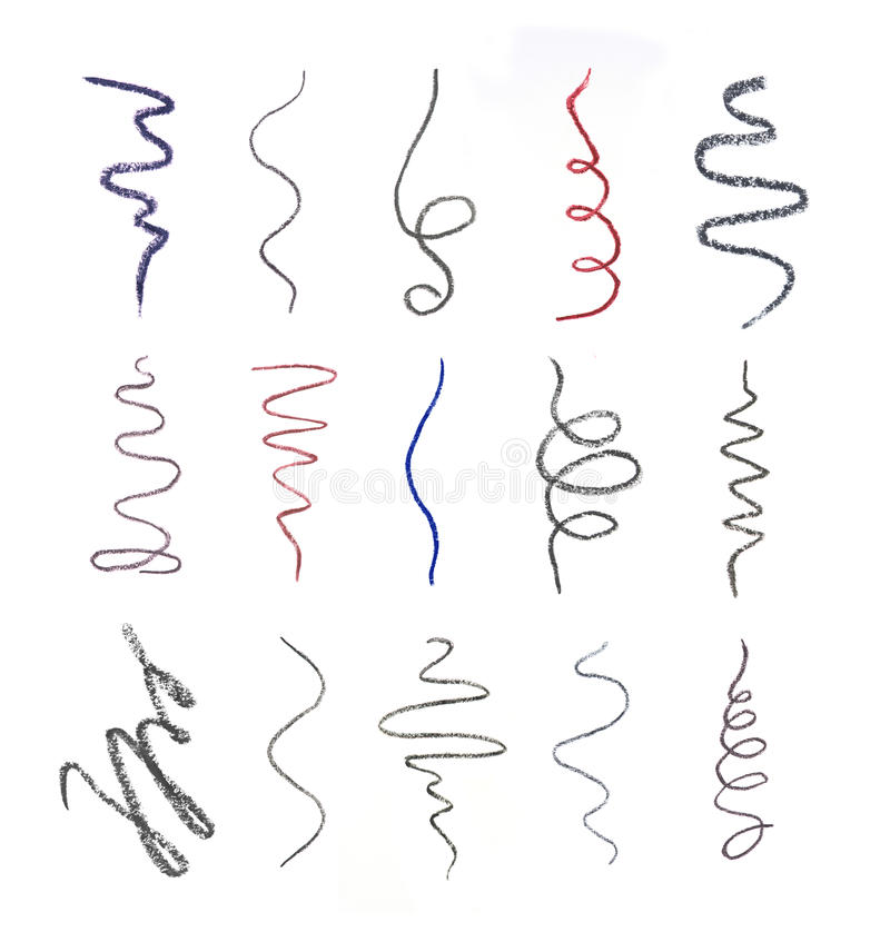 Close up of a cosmetic pencil drawing strokes. On white background royalty free illustration
