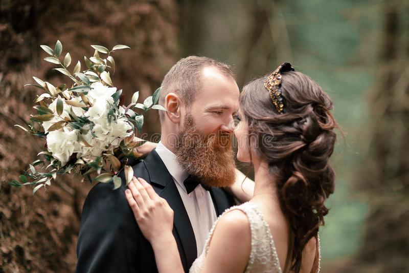 Close up.couple in love on the background of the forest royalty free stock photo