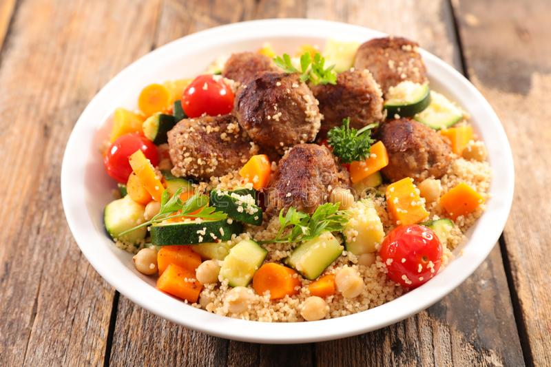 Couscous with meatball royalty free stock images