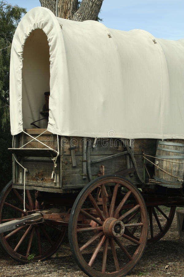 Close Up of a Covered Wagon stock photo