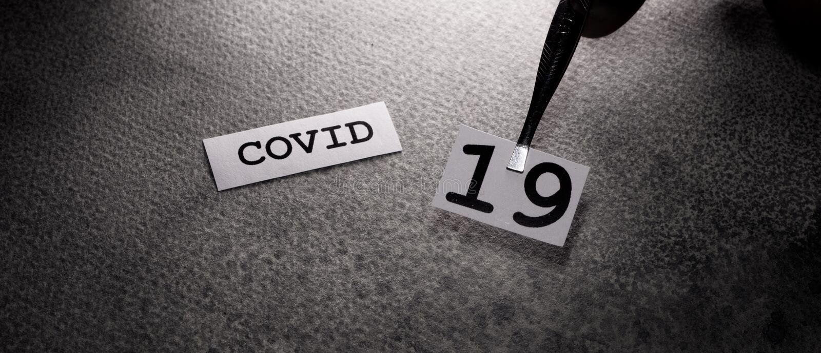 COVID-19 text tag stock photography