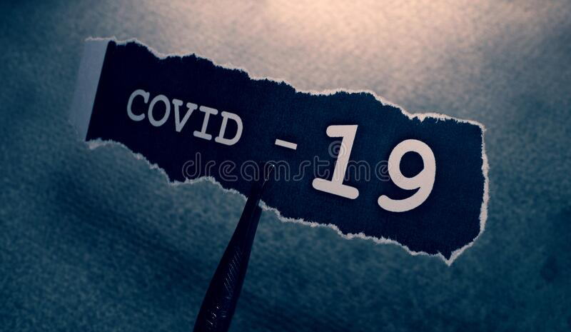 COVID-19 text tag royalty free stock image
