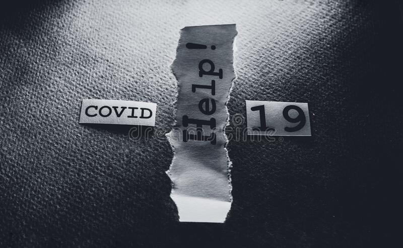 COVID-19 text tag stock image