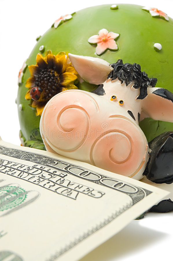Close-up of cow-coin box. With hundred dollar denomination in her mouth, symbol of 2009 stock photography