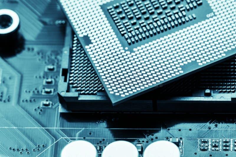 Close-up of CPU Chip Processor. Selective Focus stock photo