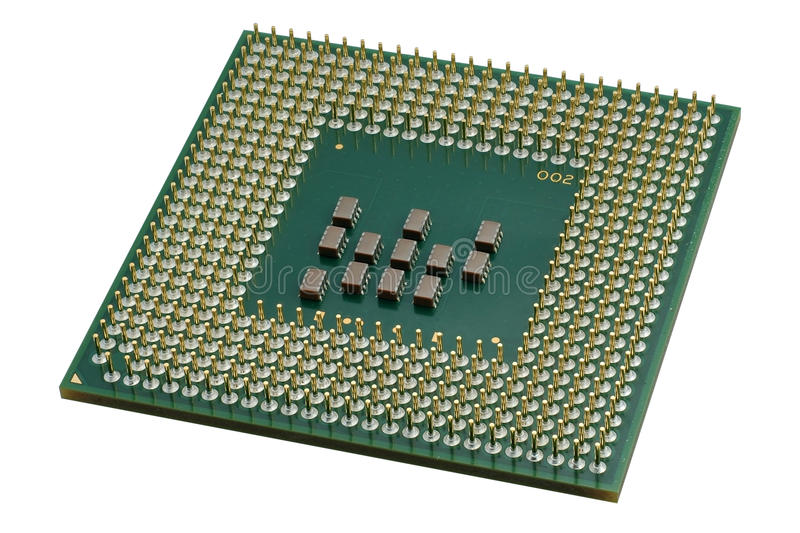 Close up of a CPU processor. Isolated on white. Large depth of field stock photos