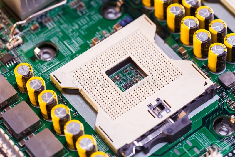 Close Up - CPU socket on a computer motherboard royalty free stock images