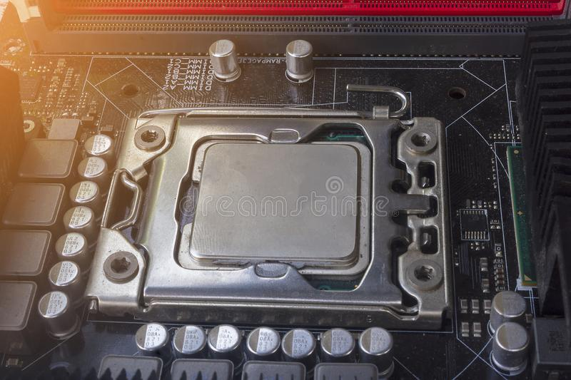 Close up cpu socket on motherboard Computer PC with cpu processor stock images