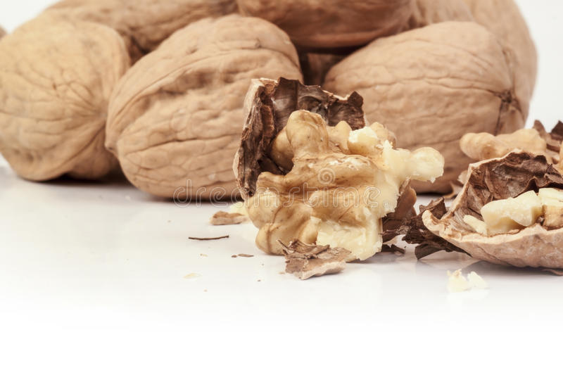 Close up of cracked walnuts royalty free stock images
