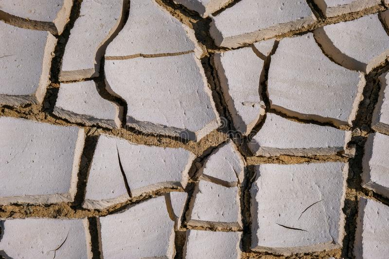 Close up of cracks on the drought land. Global warming concept abstract arid background barren bed brown clay climate change conservation crisis dam dead royalty free stock photo