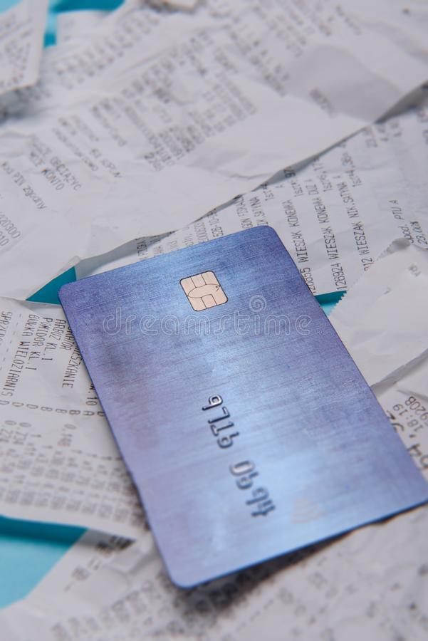 Close-up Of Credit Card On Shopping Receipt stock photos