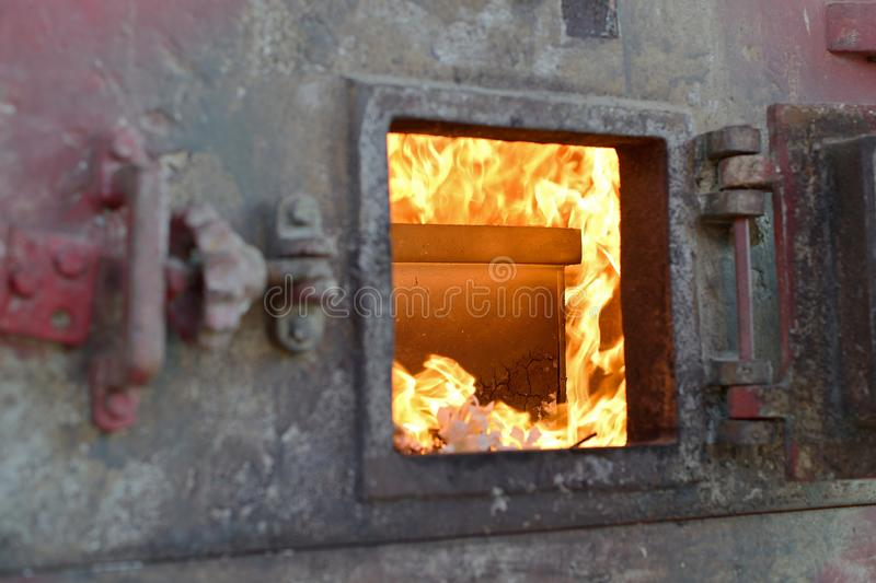 Close-up crematory burning stock images
