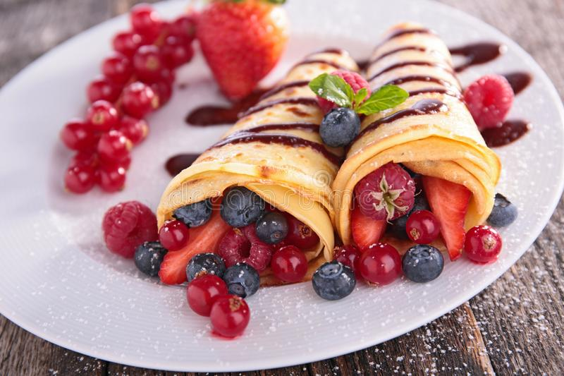 Crepe with fruit. Close up on crepe with fruit stock images
