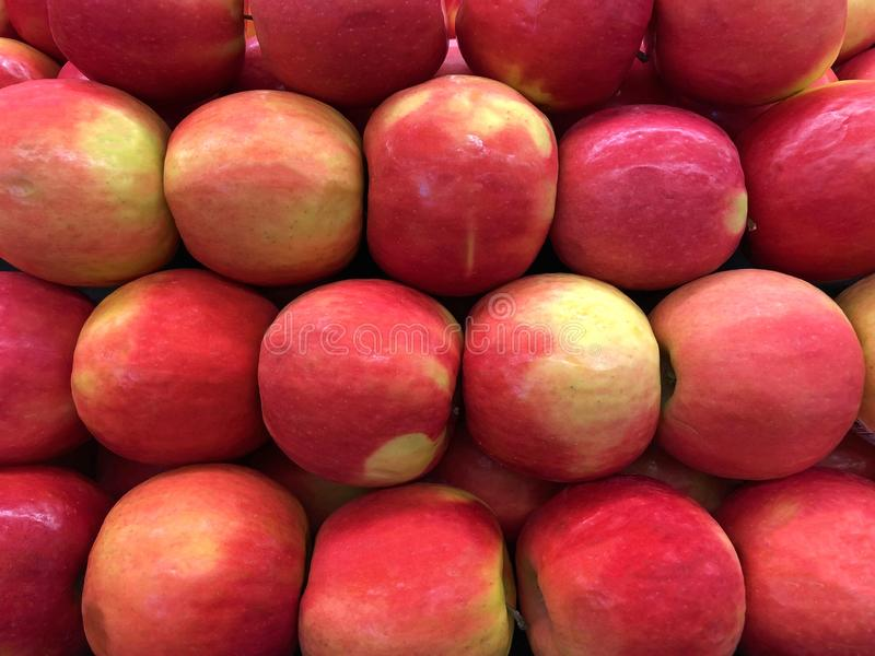 Close up background of Cripps large pink apples stock photos