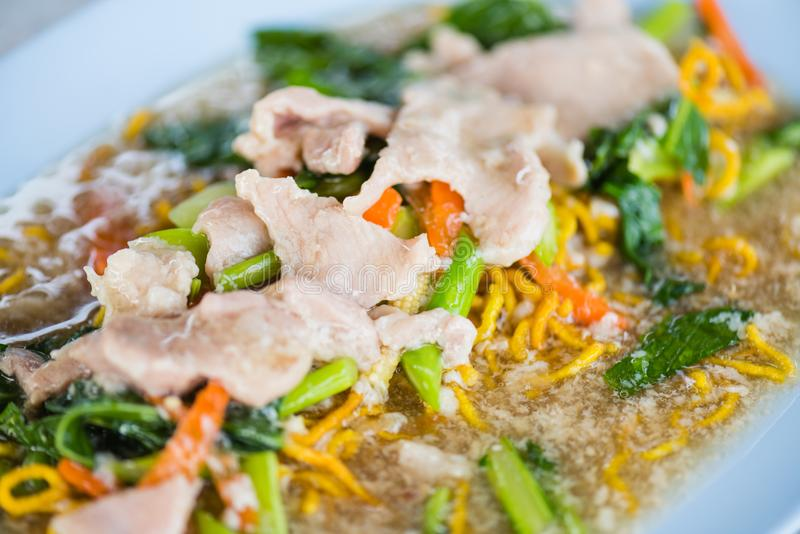 Close up of Crispy Noodle with Pork, royalty free stock images