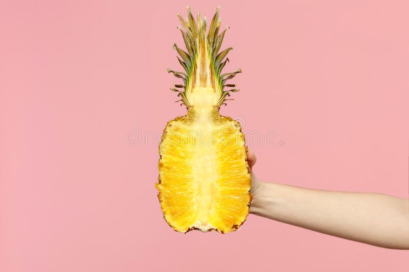 Close up cropped photo of female hold in hand fresh ripe half pineapple fruit isolated on pink pastel wall background royalty free stock image