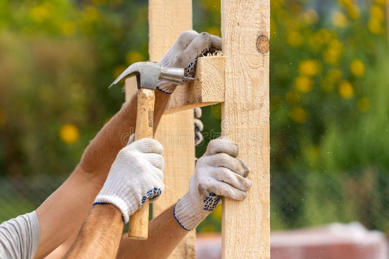 Close up cropped photo of two workers in white protective gloves holding plank board installing it on special house hold stock photo