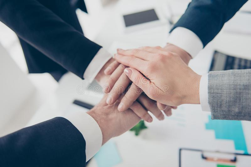 Close up cropped portrait of four elegant classic business persons, group putting their palms on top of each other in work stock photo