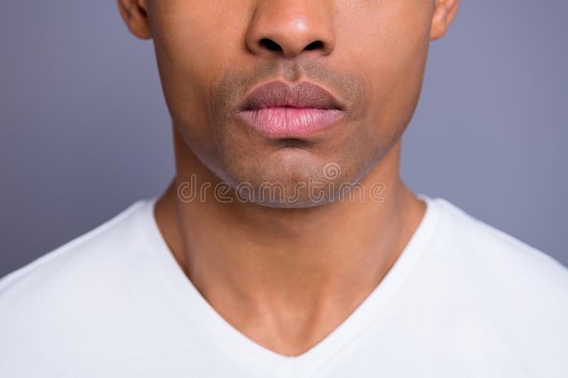 Close-up cropped portrait of nice handsome attractive candid well-groomed guy wearing white shirt shaven chin royalty free stock photos