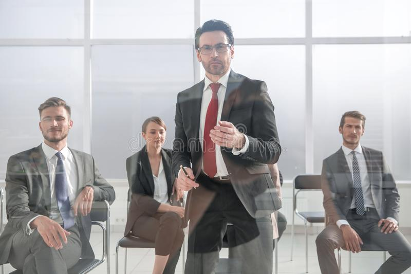 Angry Middle-aged Business Man Pointing at You. Close up cropped portrait of workers listening to boss orders or warnings.ceo is giving notice to quit royalty free stock photo