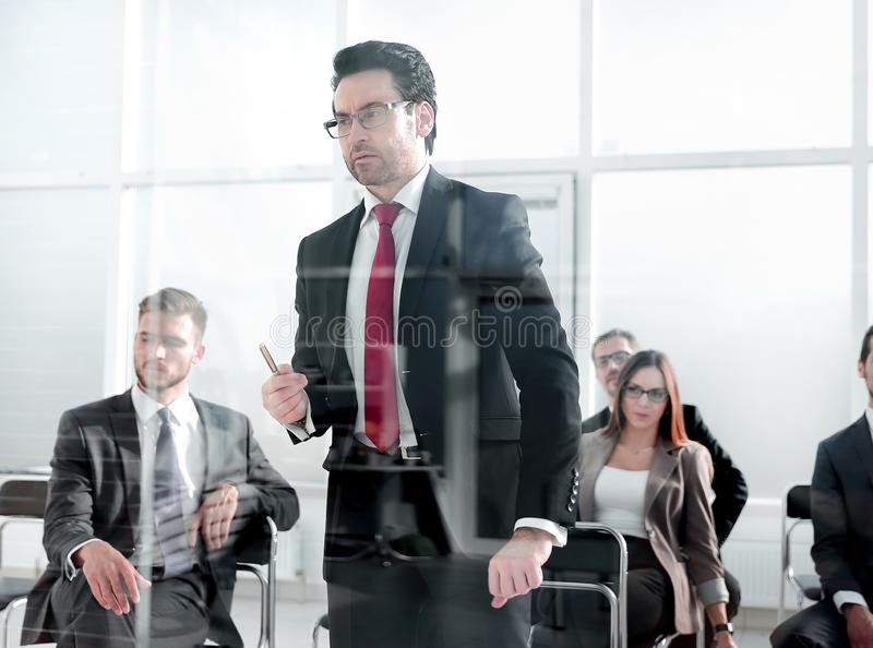 Angry Middle-aged Business Man Pointing at You. Close up cropped portrait of workers listening to boss orders or warnings.ceo is giving notice to quit stock images