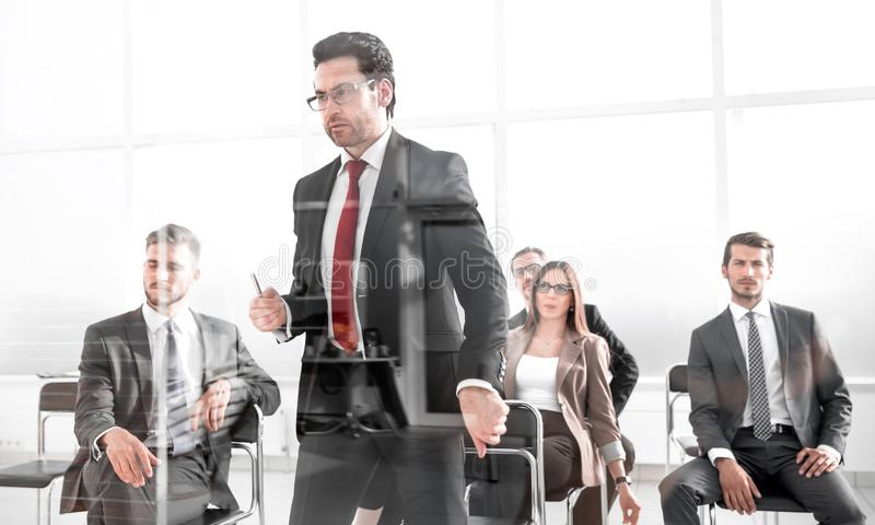 Angry Middle-aged Business Man Pointing at You. Close up cropped portrait of workers listening to boss orders or warnings.ceo is giving notice to quit royalty free stock photography