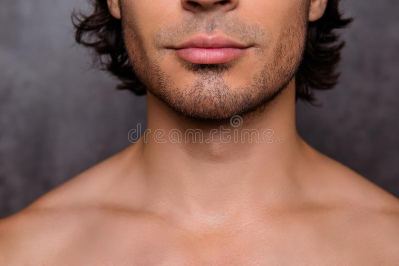 Close up cropped shot of nude hot guy`s bristle, chin, has perfect skin and hair, isolated on grey background. Barber shop, beard royalty free stock photo